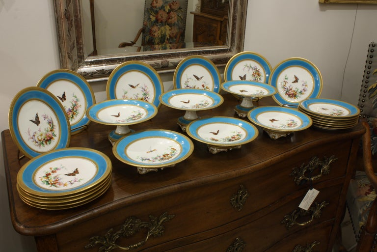 Victorian Minton Dessert Service with Butterflies and Flowers and Gold Rims For Sale