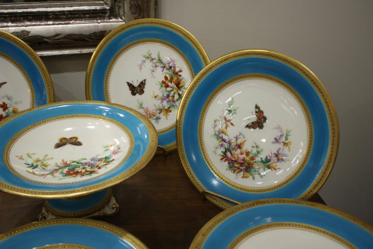 English Minton Dessert Service with Butterflies and Flowers and Gold Rims For Sale