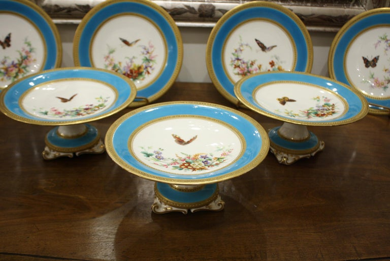 Hand-Painted Minton Dessert Service with Butterflies and Flowers and Gold Rims For Sale