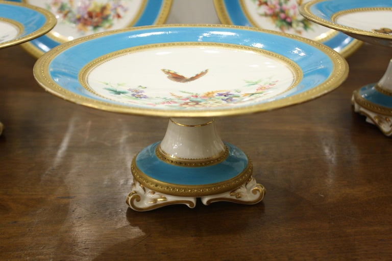 Minton Dessert Service with Butterflies and Flowers and Gold Rims In Good Condition For Sale In Charleston, SC