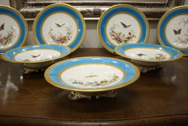 19th Century Minton Dessert Service with Butterflies and Flowers and Gold Rims For Sale