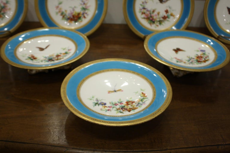 Porcelain Minton Dessert Service with Butterflies and Flowers and Gold Rims For Sale