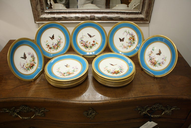 Minton Dessert Service with Butterflies and Flowers and Gold Rims For Sale 1
