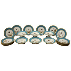 French Paris Porcelain Dessert Service with Butterflies and Flowers