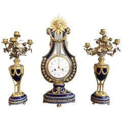 French Parisian Cobalt Porcelain and Gilt Bronze 3 Piece Clock Set