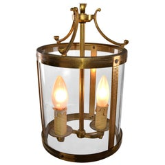 French Parisian Two-Light Glass & Bronze Lantern with Canopy