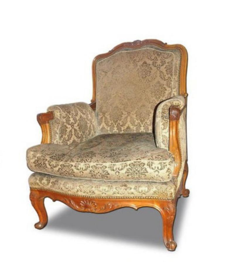 A very fine set (sofa and two armchairs) in the Louis XV style. Original upholstery (venetian velvet).   Dimensions:  Sofa - 74