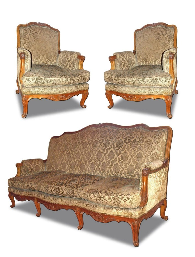 20th Century French Parlor Set, 3 Pieces For Sale