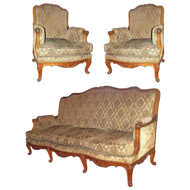 French Parlor Set, 3 Pieces For Sale