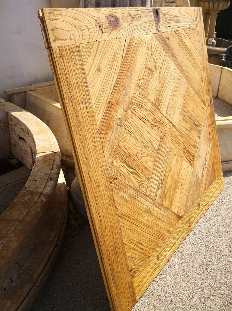 Handmade solid antique wood oak 1m x 1m floor panel in the French