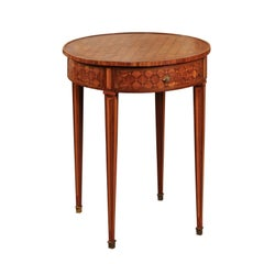 French Parquetry Inlaid Tulip and Kingswood Gueridon/Round Side Table