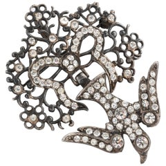 French Paste Silver Bird Pendant or Brooch