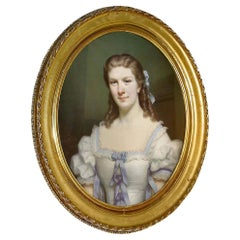 French Pastel of a Portrait of a Young Lady Wearing a Formal Dress