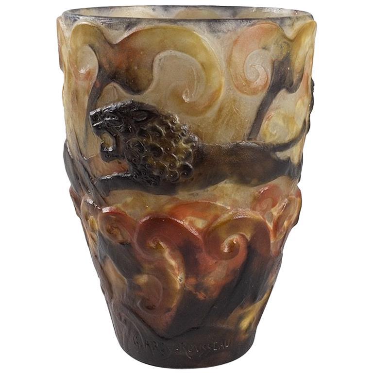 """Gabriel Argy-Rousseau Pâte de Verre """"Lions"""" Glass Vase"""