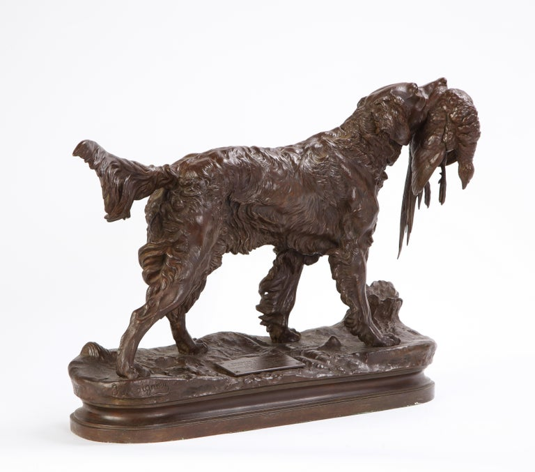 French Patinated Bronze Dog Cast After a Jules Moignier Model, 19th/20th Century For Sale 8