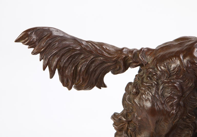 French Patinated Bronze Dog Cast After a Jules Moignier Model, 19th/20th Century For Sale 1
