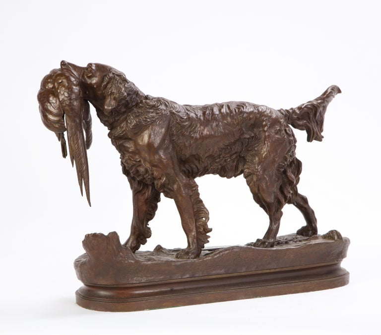 French Patinated Bronze Dog Cast After a Jules Moignier Model, 19th/20th Century For Sale 4