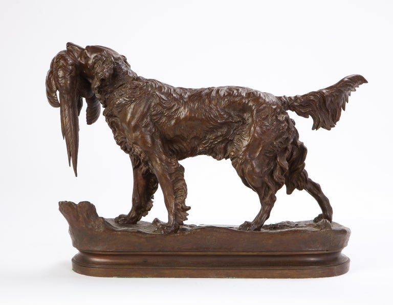 French Patinated Bronze Dog Cast After a Jules Moignier Model, 19th/20th Century For Sale 5