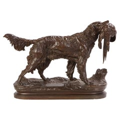 French Patinated Bronze Dog Cast After a Jules Moignier Model, 19th/20th Century