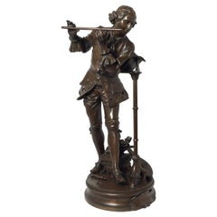 French Patinated Bronze Figure of a Flute Player, Signed Adrienne Gaudez, 1880s