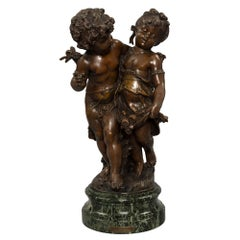 French Patinated Bronze, Path of the Roses, by August Moreau, 19th Century