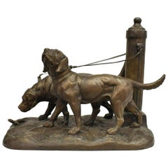 French Patinated Bronze Sculpture of Dogs