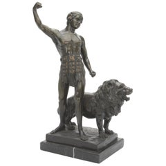 French Patinated Bronze Sculpture of Warrior and Lion, Signed