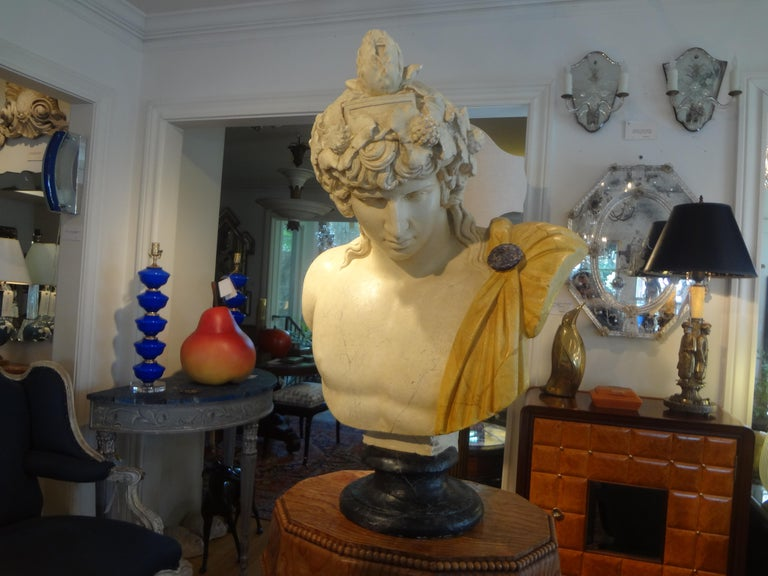 Stunning large French patinaed plaster bust sculpture of Dionysus on a faux marble socle. This fabulous plaster bust is very well detailed and dates to the 1920's.