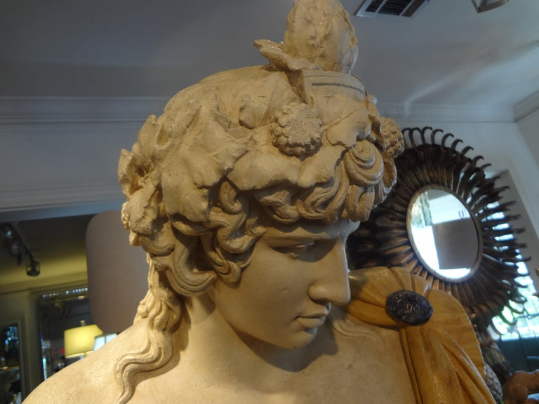 Classical Greek French Patinated Plaster Bust of Dionysus For Sale