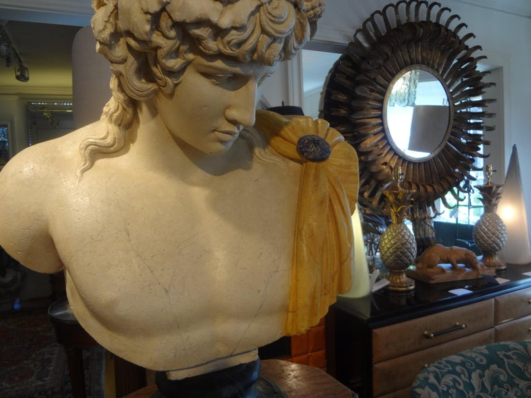 French Patinated Plaster Bust of Dionysus In Good Condition For Sale In Houston, TX