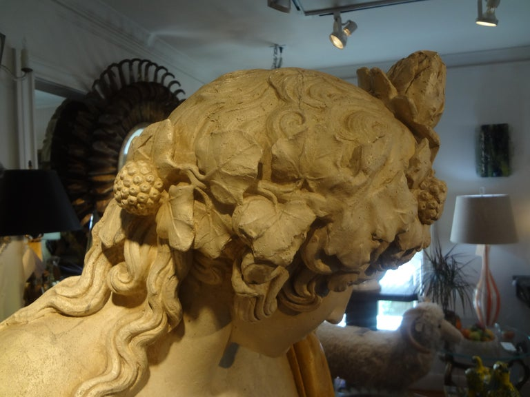 French Patinated Plaster Bust of Dionysus For Sale 1