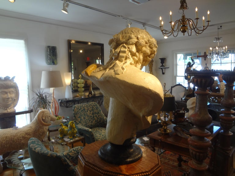 French Patinated Plaster Bust of Dionysus For Sale 2