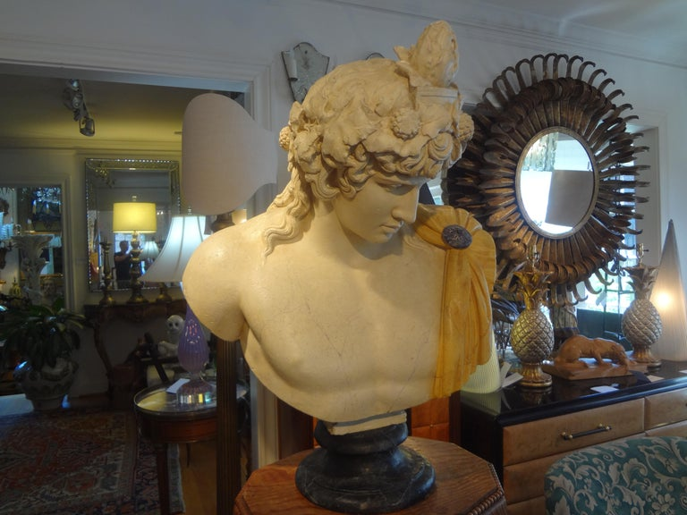 French Patinated Plaster Bust of Dionysus For Sale 3