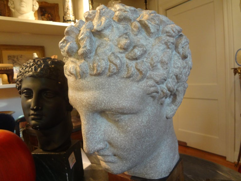 French Patinated Plaster Bust Sculpture of Hermes on Wood Base In Good Condition For Sale In Houston, TX