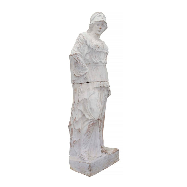 French Patinated Terracotta Statue of a Maiden, 19th Century In Good Condition For Sale In West Palm Beach, FL