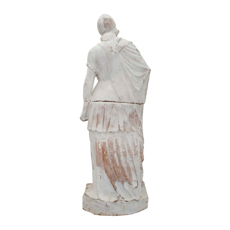 Carrara Marble French Patinated Terracotta Statue of a Maiden, 19th Century For Sale
