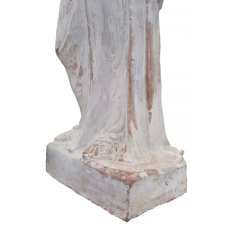 French Patinated Terracotta Statue of a Maiden, 19th Century For Sale 4