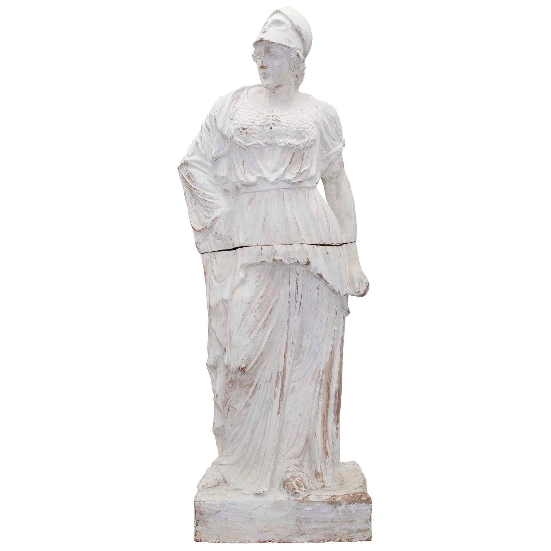 French Patinated Terracotta Statue of a Maiden, 19th Century