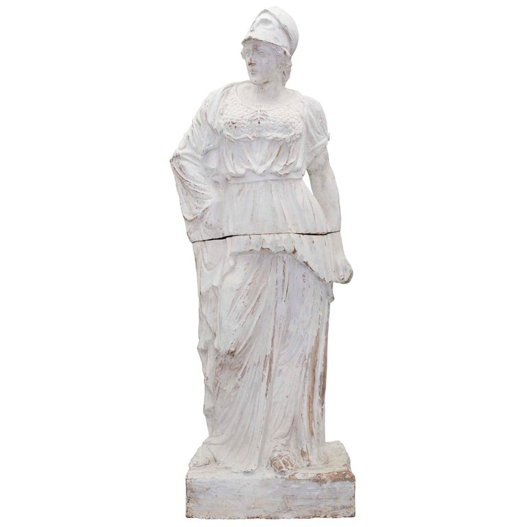 French Patinated Terracotta Statue of a Maiden, 19th Century For Sale