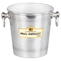 French Paul Gericot Champagne Aluminum Ice Bucket, 20th Century