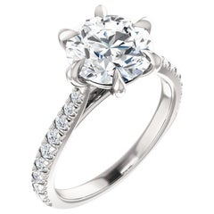 French Pave Claw Prong Diamond Accented Round GIA Certified Engagement Ring