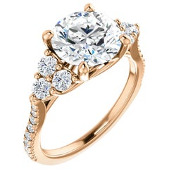 French Pave Diamond Accented GIA Certified Round Brilliant Engagement Ring