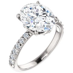 French Pave Diamond Accented Single Row Oval GIA Certified Engagement Ring