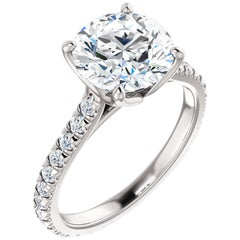 French Pave Eternity Style Round Brilliant Diamond GIA Certified Engagement Ring