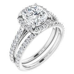French Cut Halo Cushion Diamond Engagement Ring Set