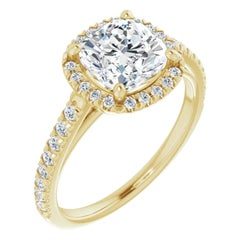French Pave Halo Cushion Diamond Engagement Ring Yellow Gold
