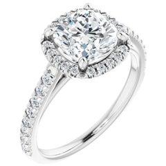 French Pave Halo Cushion Diamond Engagement Ring