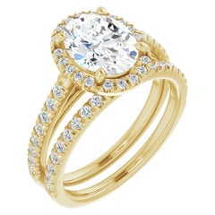 French Pave Halo GIA Oval Diamond Engagement Ring Yellow Gold