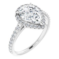 French Pave Halo GIA Pear Shape Diamond Engagement Ring White Gold 0.85 Carat