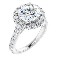 French Pave Halo Style Diamond Accented Round GIA Certified Engagement Ring